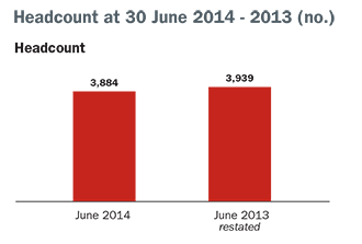 headcount at 30 june 2014